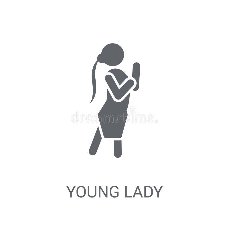 Młodej Damy ikona Modny młoda dama logo pojęcie na białym backgro ilustracji