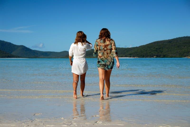 młodej dwa chodzącej kobiety oddalony morze zdjęcie stock