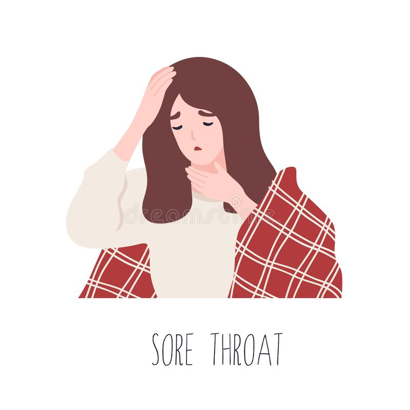 Młodej dziewczyny cierpienie od bolesnego gardła Objaw grypa, wirusowa zaraźliwa choroba dla medycznych diagnostyków choroba royalty ilustracja