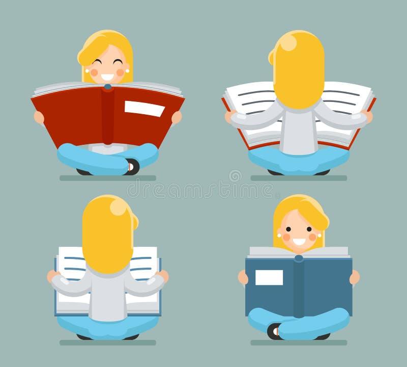 Młodej Dziewczyny Czytelniczej książki obsiadanie na Podłogowego charakter ikony symbolu kreskówki projekta pojęcia szablonu Eleg royalty ilustracja