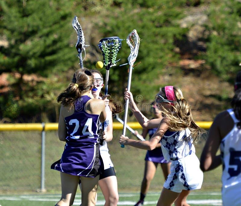 Młodej Dziewczyny Lacrosse gracze zdjęcia royalty free