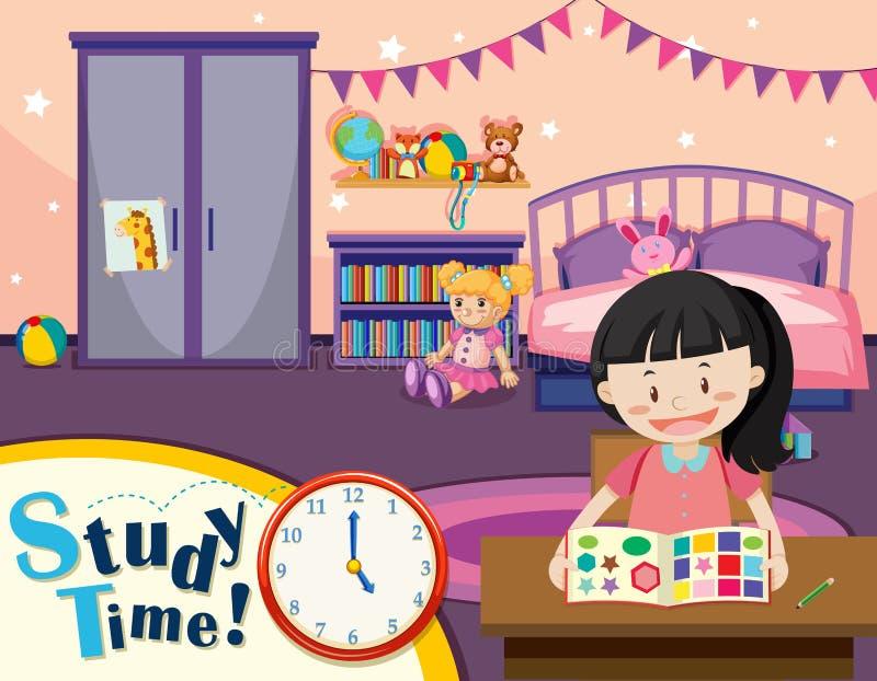 Młodej dziewczyny nauki czas ilustracja wektor