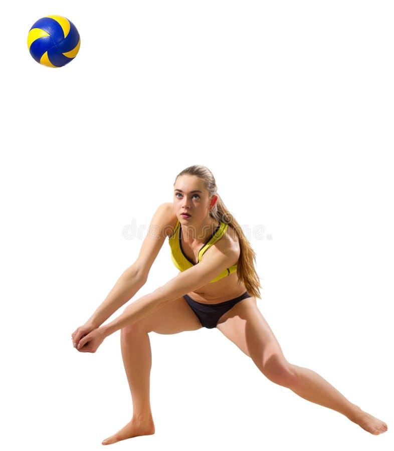 Młodej dziewczyny plażowej siatkówki gracz zdjęcie royalty free