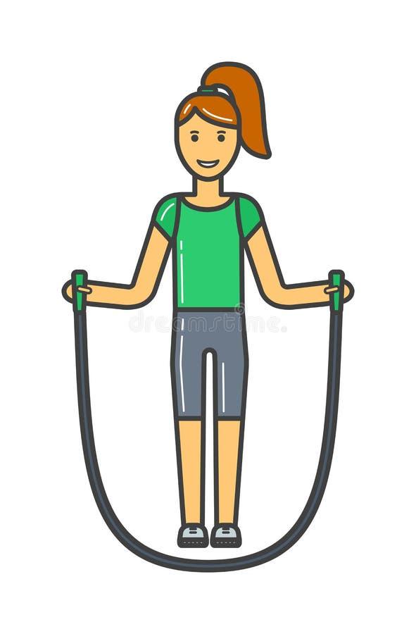 Młodej dziewczyny skokowej arkany sprawność fizyczna, sport, szkolenie, park i stylu życia pojęcia wektor, ilustracji