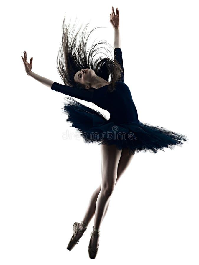 Młodej kobiety baleriny baletniczego tancerza taniec odizolowywał białą tło sylwetkę obrazy royalty free