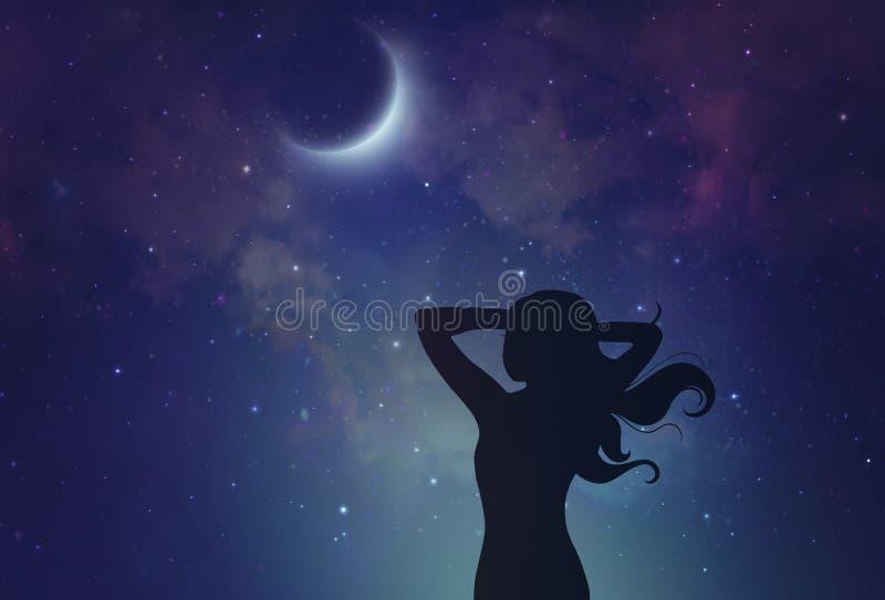 Młodej kobiety dojechanie dla księżyc royalty ilustracja