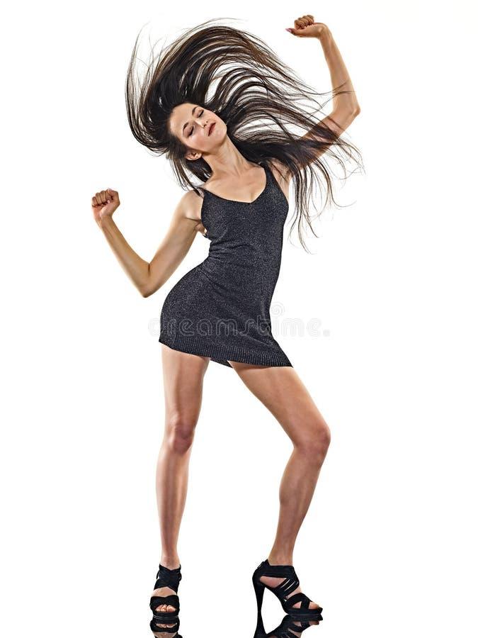 Młodej kobiety dyskoteki tancerza taniec odizolowywał białego tła szczęśliwą zabawę zdjęcie royalty free