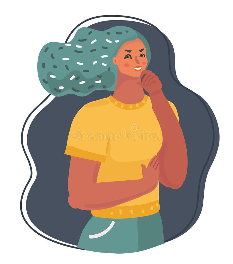 Młodej kobiety główkowanie i patrzeć upwards ilustracja wektor