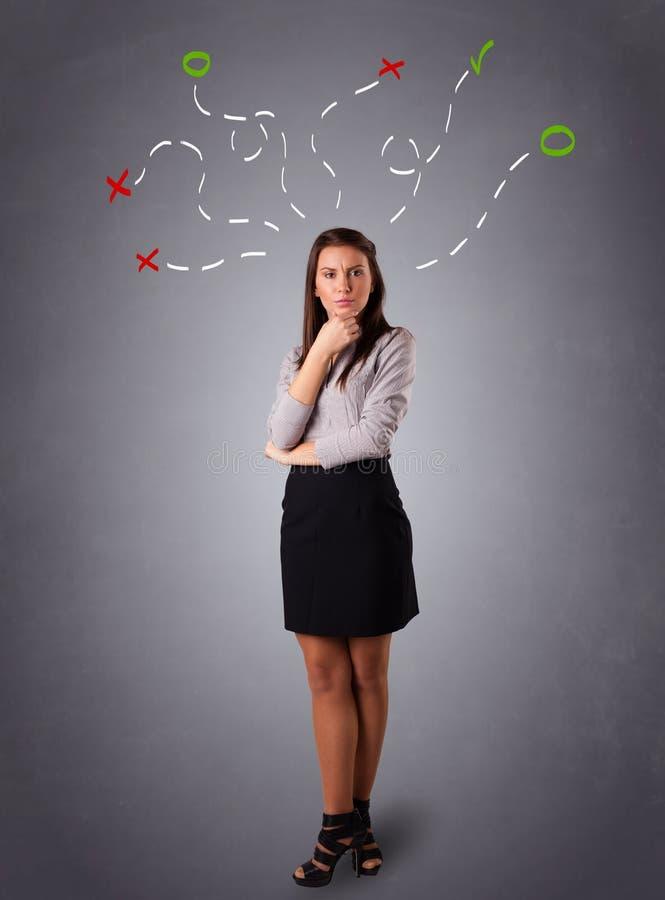 Download Młodej Kobiety Główkowanie Z Abstraktem Zaznacza Koszty Stałe Obraz Stock - Obraz złożonej z migreny, chaos: 53776305