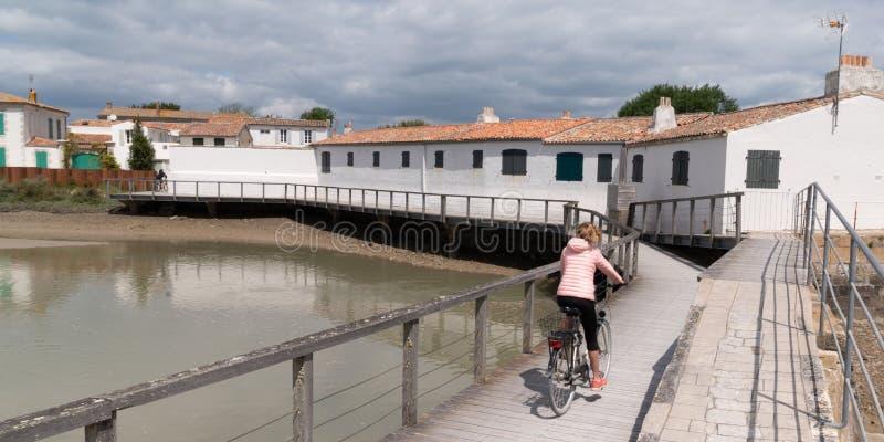 Młodej kobiety jazda z bicyklem na drewnianej ścieżce wyrzucać na brzeg w lato słonecznym dniu na wyspy ile w Francja de re obrazy royalty free