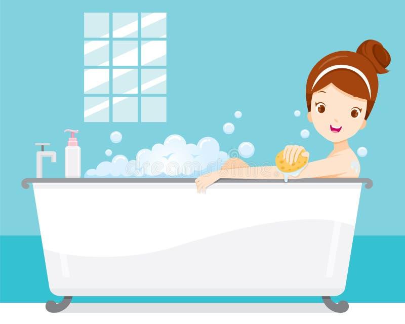 Młodej Kobiety kąpanie W wannie, W łazience ilustracji