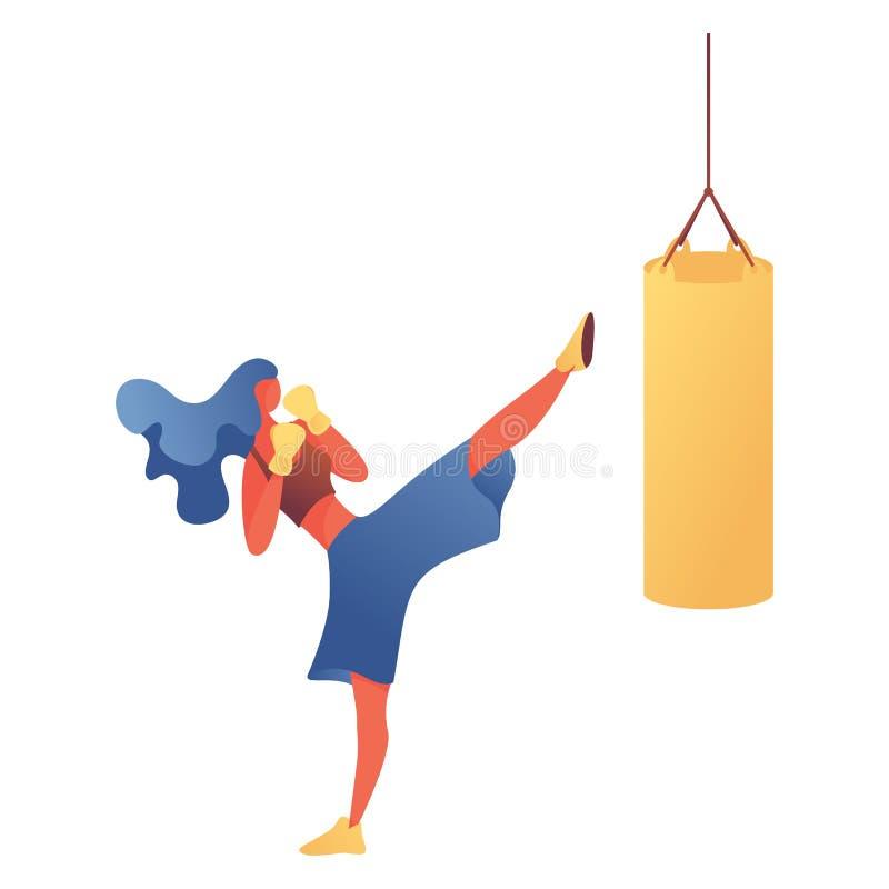 Młodej kobiety kickboxing trenować w gym Wektor odizolowywający na białym charakterze robi bokserskiemu ćwiczeniu z uderzać pięśc royalty ilustracja