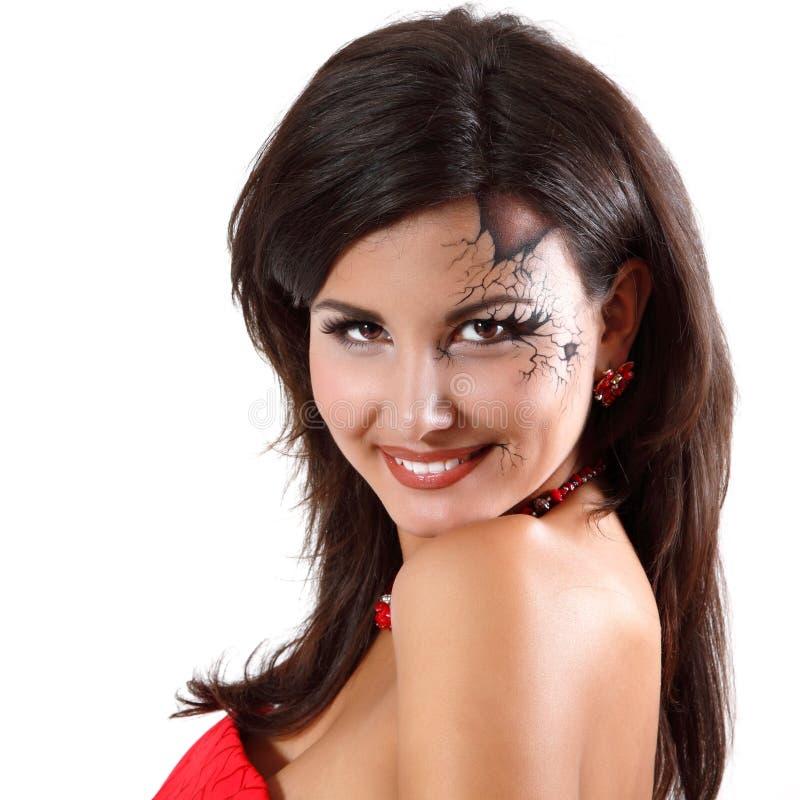 Młodej kobiety lali Halloween łamająca piękna dziewczyna odizolowywająca fotografia stock