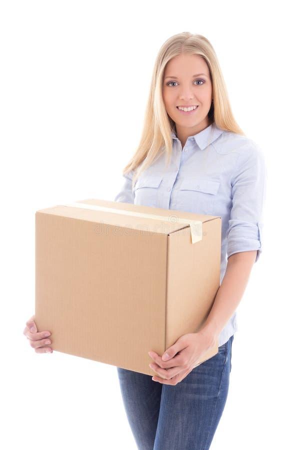 Młodej kobiety mienia karton odizolowywający na bielu zdjęcie stock