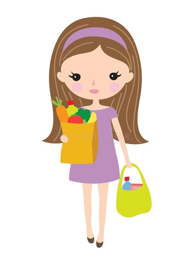 Młodej Kobiety mienia sklepu spożywczego torby ilustracja wektor