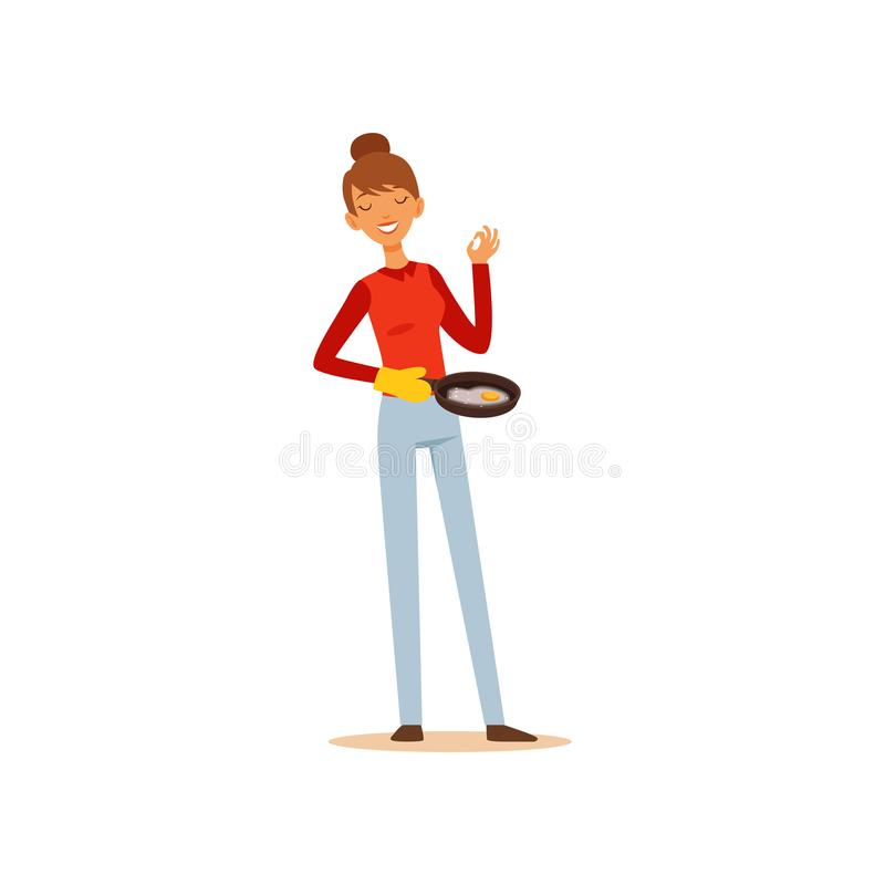 Młodej kobiety mienie smaży nieckę z smażącymi jajkami, gospodyni domowej dziewczyny kulinarny jedzenie w kuchennej płaskiej wekt ilustracji