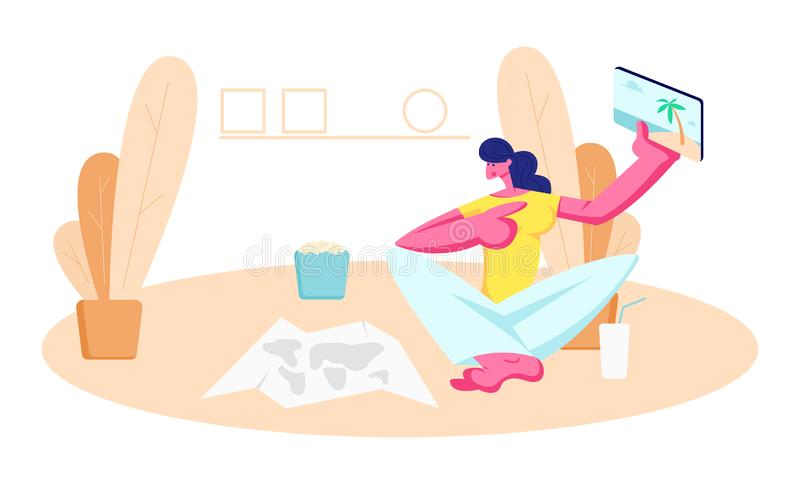Młodej Kobiety obsiadanie na podłodze z Papierową mapą, napojem i popkornem Pokazuje pastylka z obrazkami od Urlopowej wycieczki, ilustracja wektor