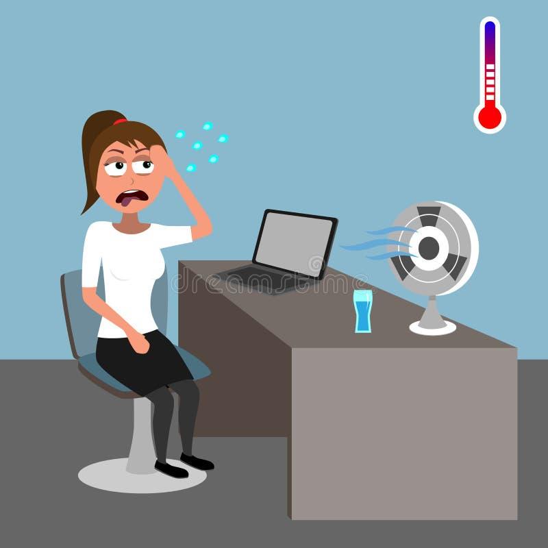 Młodej kobiety obsiadanie w biurze i pocenie w gorącej pogodzie royalty ilustracja