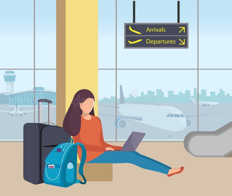 Młodej kobiety obsiadanie w lotniskowym holu z i działaniu na laptopie jej plecakiem i walizką Dziewczyna pasażer przy lotniskiem ilustracja wektor