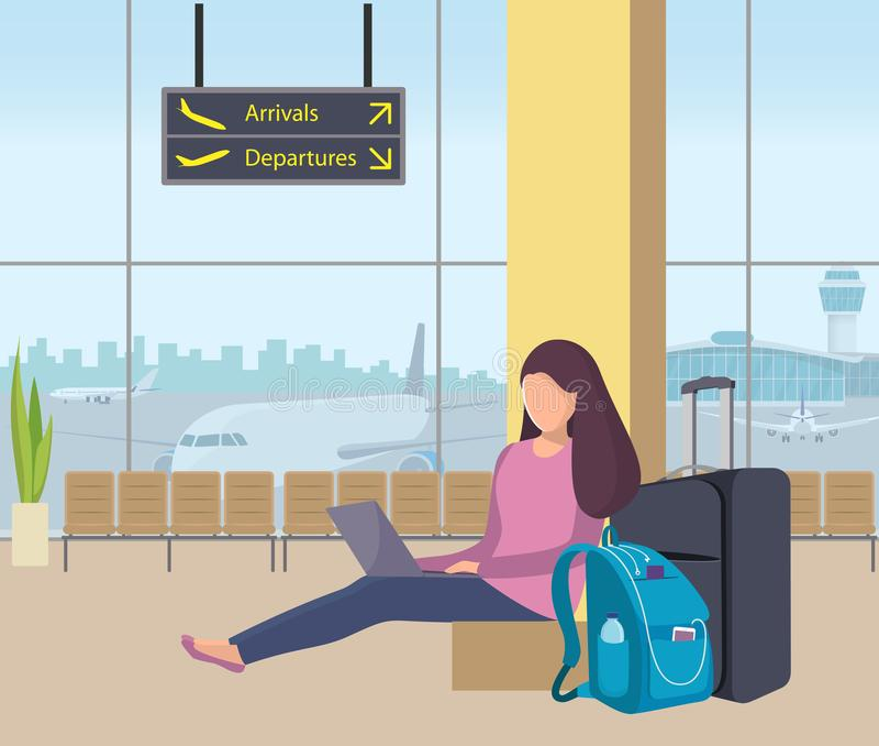 Młodej kobiety obsiadanie w lotniskowym holu z i działaniu na laptopie jej plecakiem i walizką Dziewczyna pasażer przy lotniskiem ilustracji