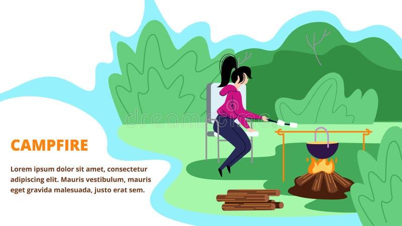 Młodej Kobiety obsiadanie w obozie letnim blisko ogniska royalty ilustracja