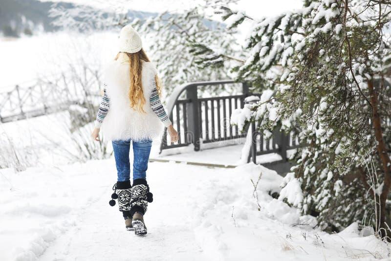 Młodej kobiety odprowadzenie przy parkiem zakrywającym z śniegiem zdjęcie stock