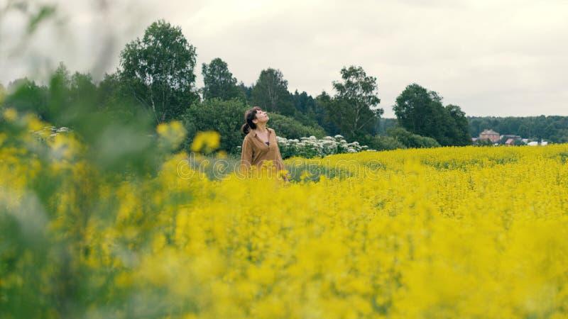Młodej kobiety odprowadzenie w kwiatu polu Piękny krajobrazowy lato kwiatu pole zdjęcia stock