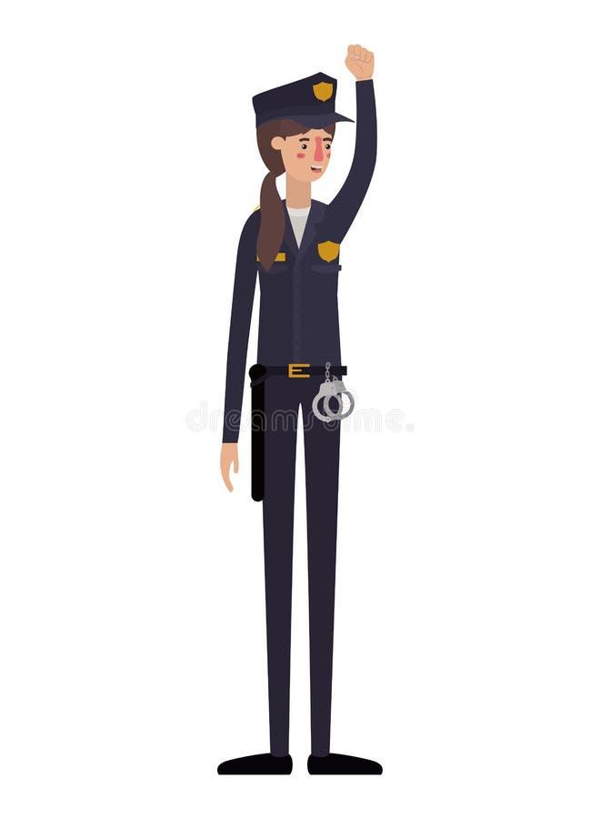 Młodej kobiety policja z ręką w górę avatar charakteru royalty ilustracja