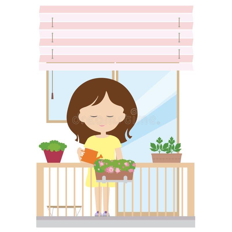 Młodej kobiety pozycja na balkonowym mieniu dzbanek w jej ręce i royalty ilustracja