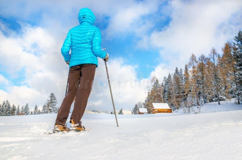 Młodej kobiety pozycja na traill w zimy scenerii zdjęcia stock