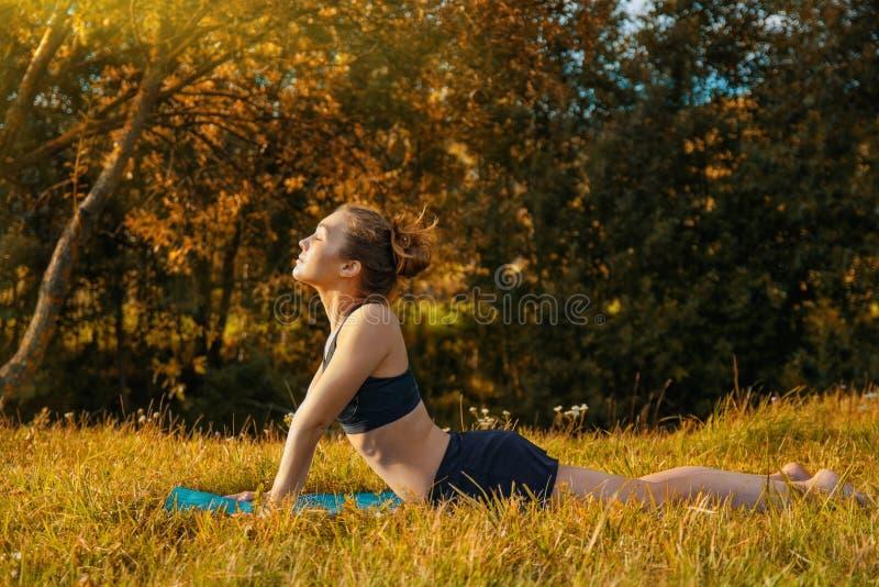 Młodej kobiety stażowy joga outdoors fotografia royalty free