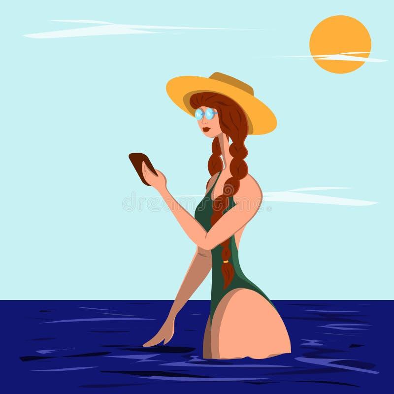 Młodej kobiety stojaki talia w wodzie i spojrzenia w telefon Ilustracja w mieszkanie stylu royalty ilustracja
