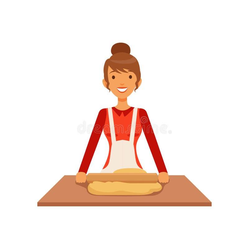 Młodej kobiety toczny ciasto, gospodyni domowej dziewczyny kulinarny jedzenie w kuchennej płaskiej wektorowej ilustraci royalty ilustracja