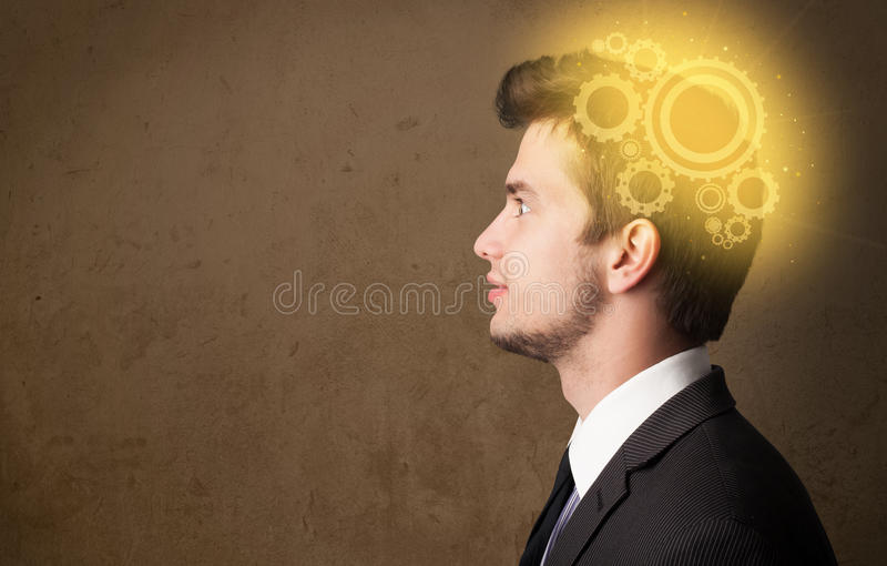 Młodej osoby główkowanie z maszynową kierowniczą ilustracją ilustracji