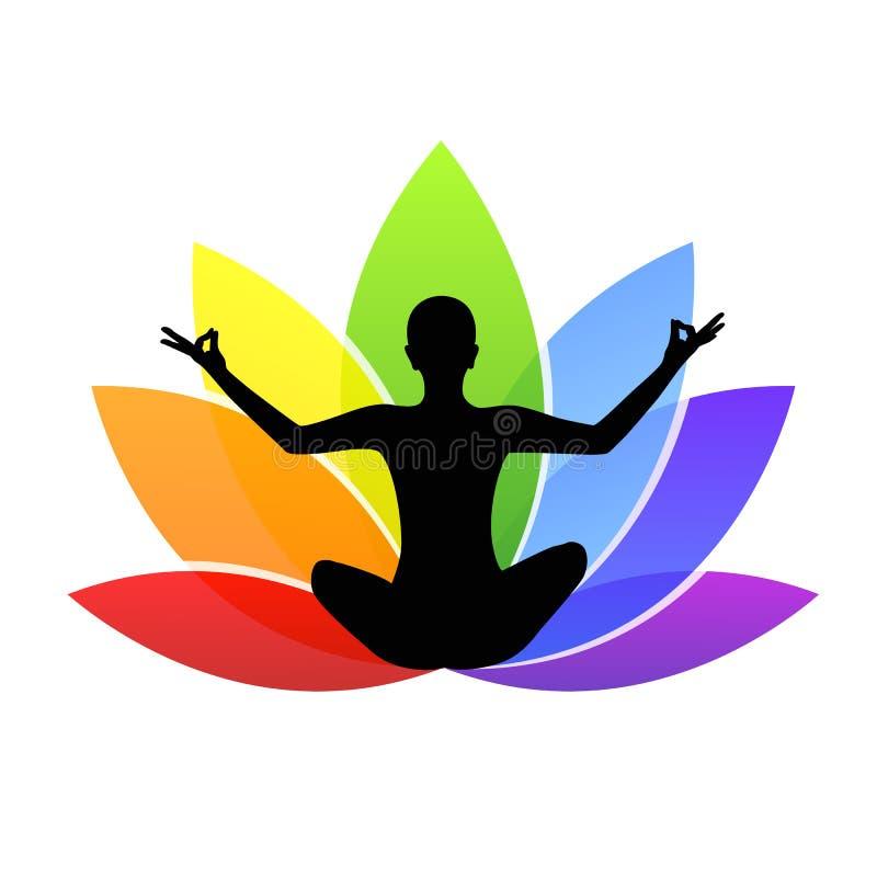 Młodej osoby obsiadanie w joga medytaci lotosowej pozyci sylwetce z kolorową lelują w tęczy barwi royalty ilustracja
