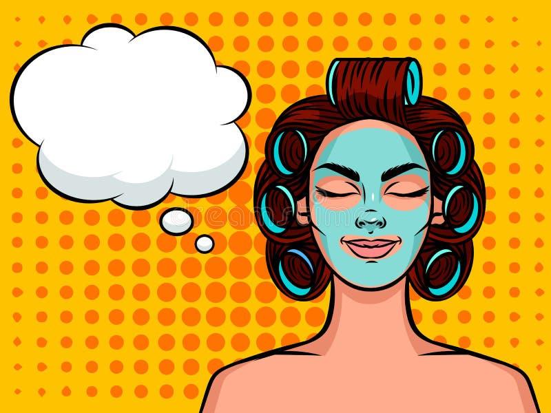 Młodej pięknej kobiety Europejski typ z curlers na jej głowie i maską na jej twarzy Relaksująca dziewczyny twarz z mowa bąblem na ilustracja wektor