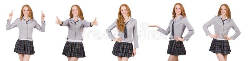 Młodej rudzielec studencka kobieta odizolowywająca na bielu zdjęcia royalty free