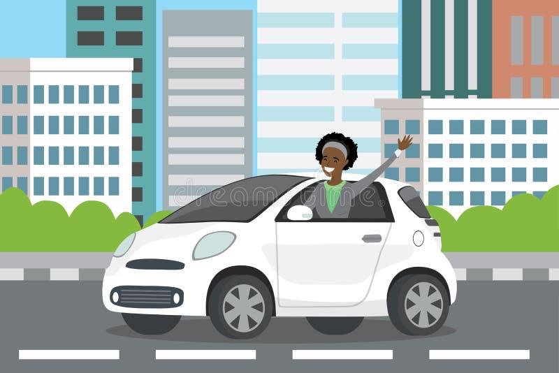 Młodej szczęśliwej amerykanin afrykańskiego pochodzenia kobiety auto kierowca jedzie w białym ca ilustracja wektor