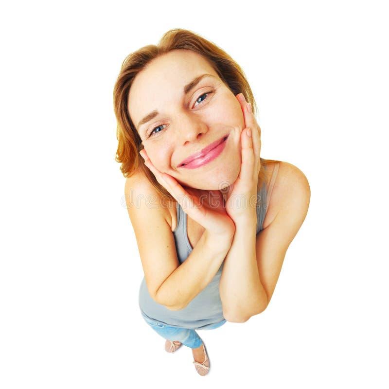 Młodej szczęśliwej kobiety długości śmieszny pełny portret odizolowywający obrazy royalty free