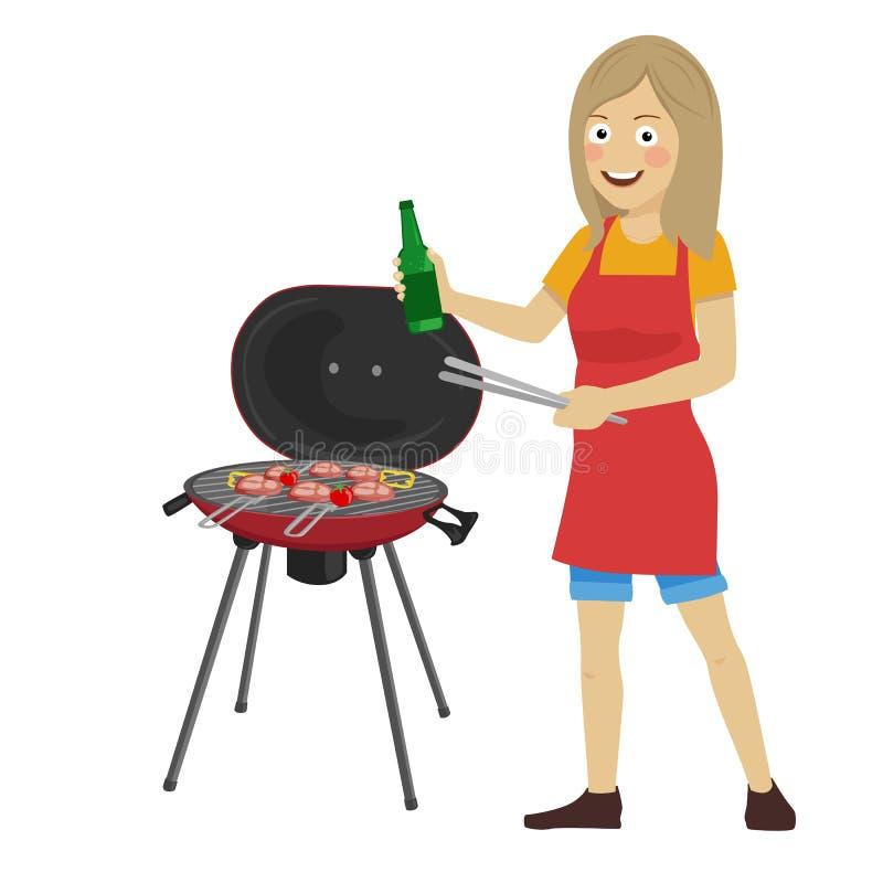 Młodej szczęśliwej kobiety grilla kulinarny grill trzyma butelkę i tongs royalty ilustracja