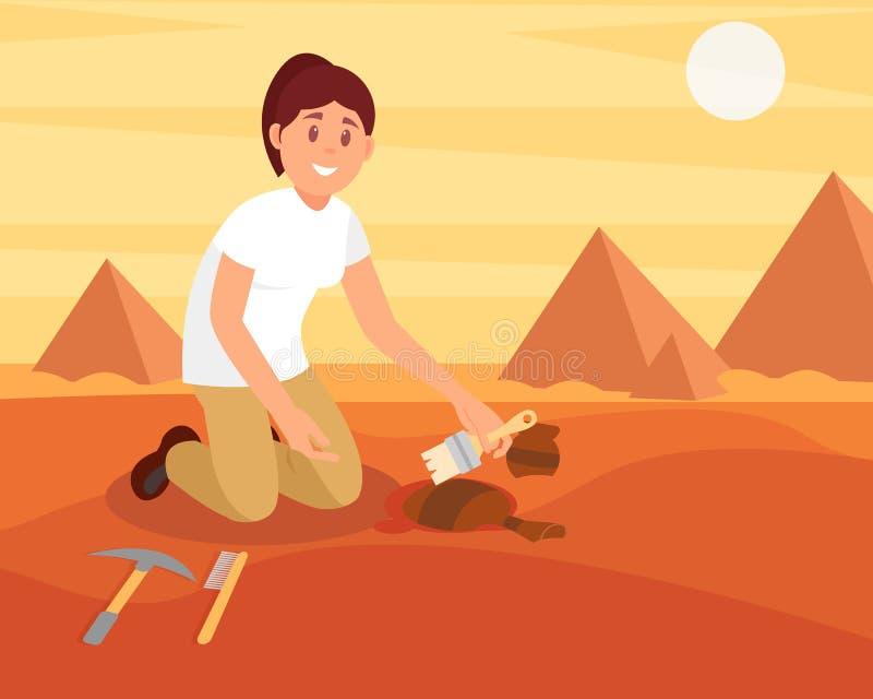 Młodej uśmiechniętej kobiety ogólny brud z starego ceramicznego dzbanka Archeolog pracuje na ekskawaci w piaskowatej egipcjanin p royalty ilustracja