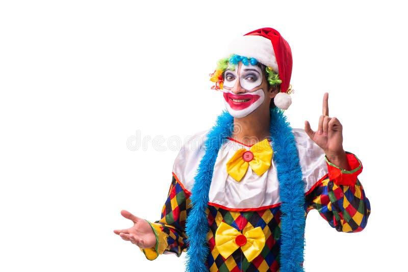 Młody śmieszny błazenu komediant odizolowywający na bielu fotografia royalty free