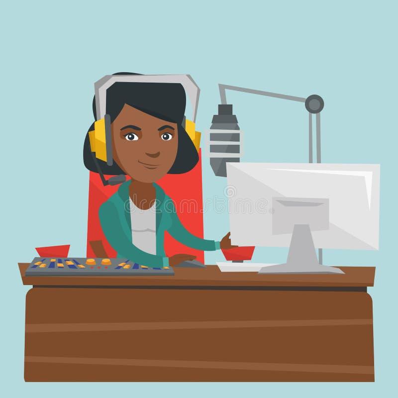 Młody żeński afroamerykanin dj pracuje na radiu ilustracji