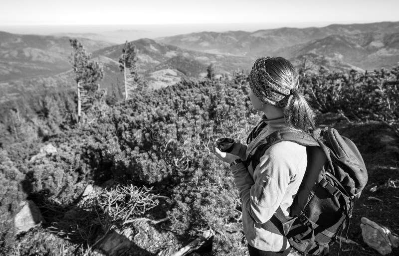 Młody żeński backpacker cieszy się widok dolina below zdjęcia royalty free