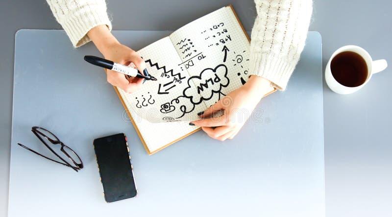 Młody żeński projektant używa grafiki pastylkę podczas gdy pracujący z komputerem fotografia royalty free