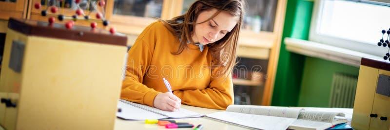 Młody żeński student collegu w chemii klasie, pisze notatkach Skupiający się uczeń w sala lekcyjnej Edukacji pojęcia sieci sztand fotografia stock