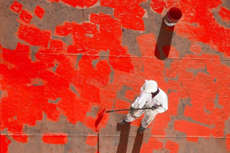 Młody żeglarz Maluje Jego statek zdjęcie royalty free