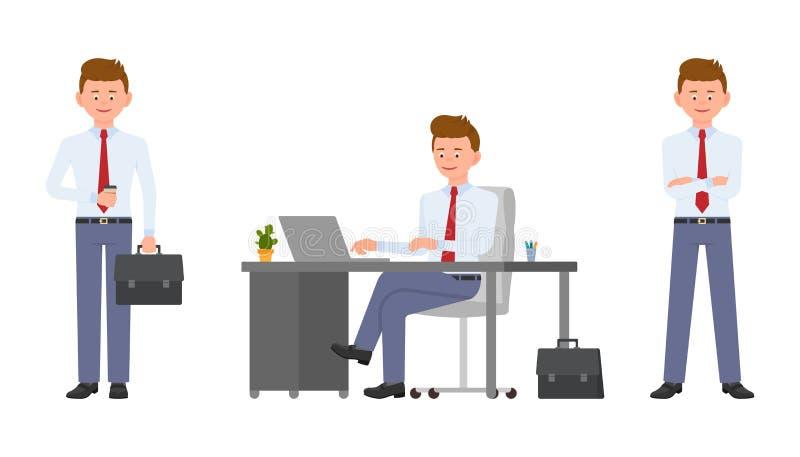 Młody życzliwy biurowy kierownik w formalnej odzieży obsiadaniu przy biurkiem, mienie kawą i teczką, używać laptop royalty ilustracja