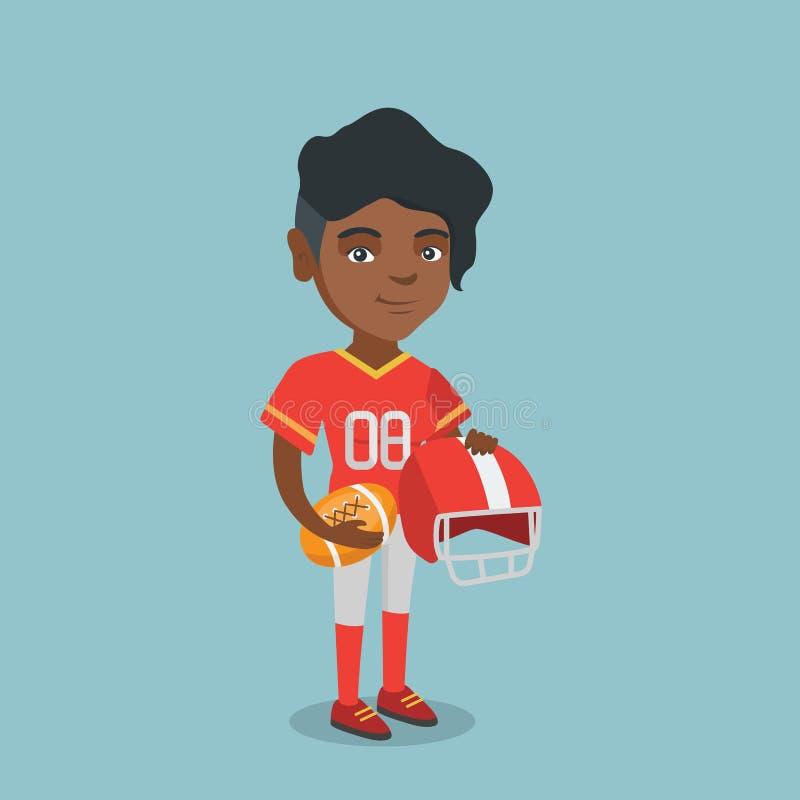 Młody afroamerykański żeński rugby gracz ilustracji