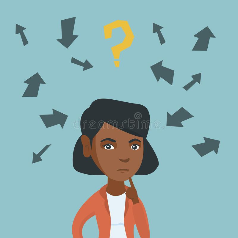 Młody afroamerykański biznesowej kobiety główkowanie royalty ilustracja